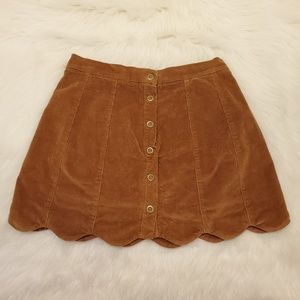 Kendall & Kylie ButtonFront Corduroy Scallop Skirt